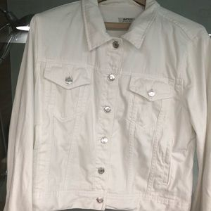 Large JCrew 100% cotton white denim jacket